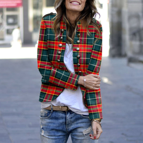 Fashion Plaid Long Sleeve Decorative Buttons Jacket