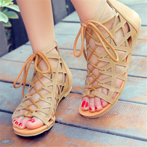 Roman style lace-up flat sandals