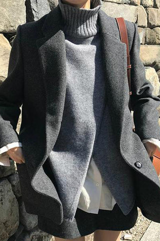 Fashionable Pure Color Woolen Suiting Suit Overcoat