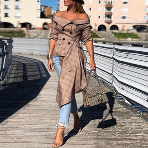 Off The Shoulder Plaid Irregular Hem Long   Sleeve Tshirt
