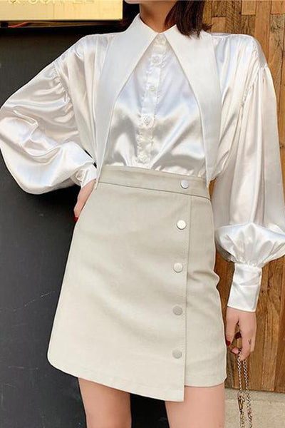 Fashion A Peaked Collar Puff Sleeve Shirt