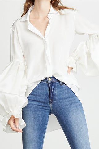 Fashion Solid Color Irregular Loose Shirt