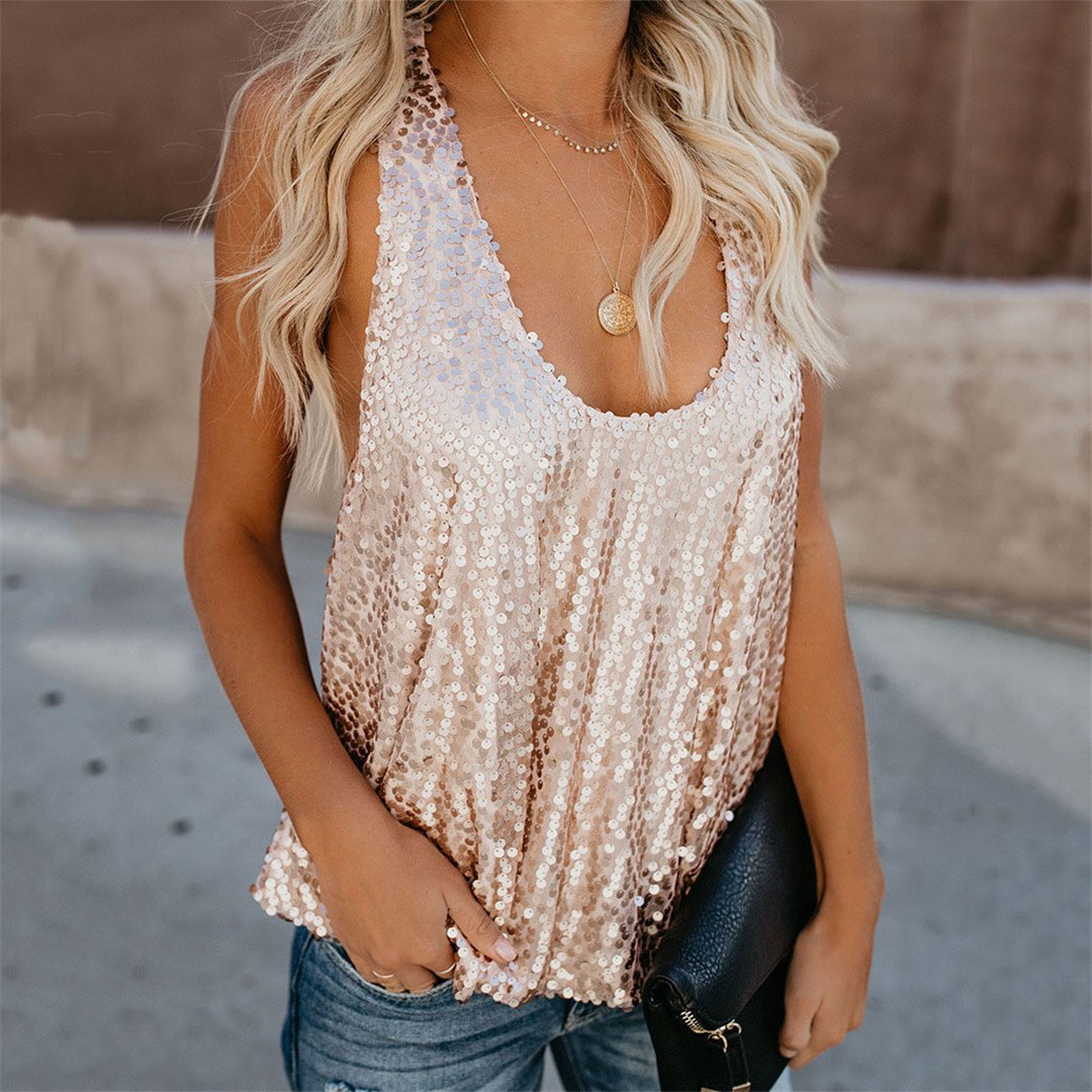 Sexy U Neck Sequined Vest