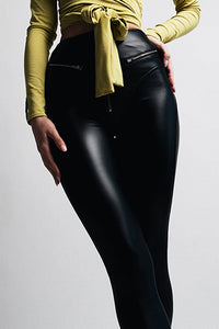 Sexy Zipper Black Bodycon Leather Pants