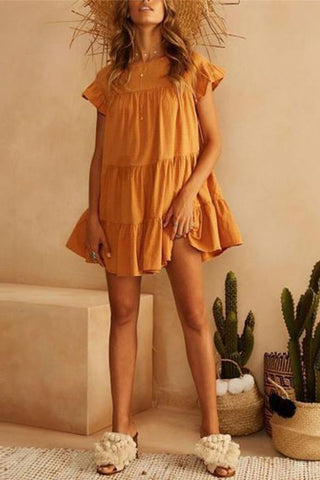 Round Neck Solid Color Cuff Flounce Decorated Mini Dress