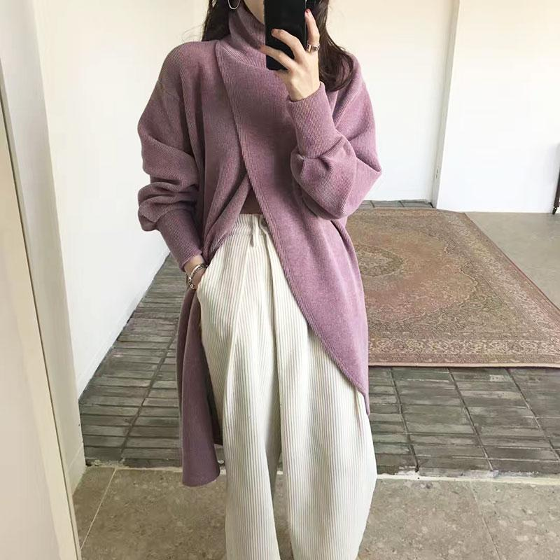 Fashion Pure Colour Long Sleeve Shawl Top Sweater