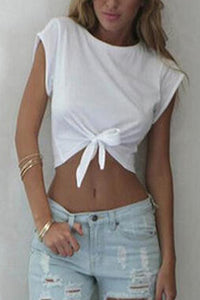 Round Neck  Bowknot  Exposed Navel  Plain T-Shirts