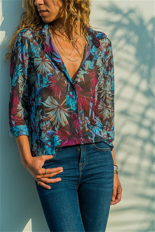 Casual Loose Floral   Print Long Sleeve Shirt