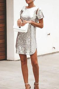 Fashion Short Sleeve Backless Sequins Dress