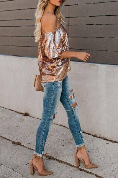 One Shoulder  Glitter  Plain T-Shirts