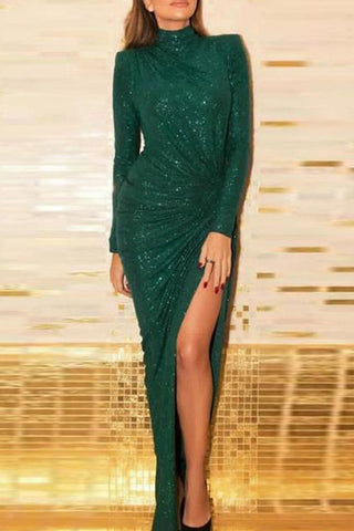 Sexy Gilding Half High Collar Slit Bodycon Dresses