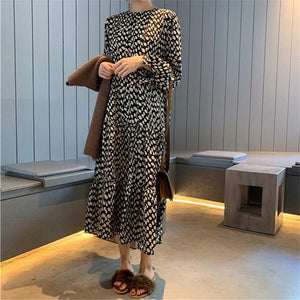 Women's Casual Loose   Wave Point Long Sleeve Maxi Dresses