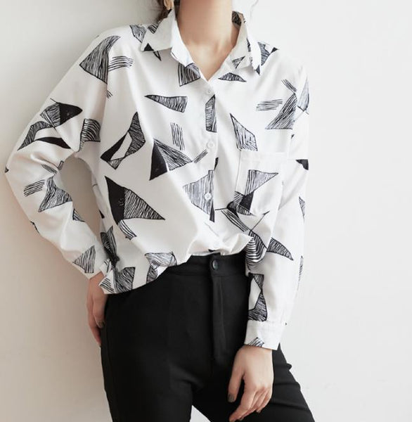 Casual Long Sleeve   Geometric Pattern Printed Chiffon Shirt
