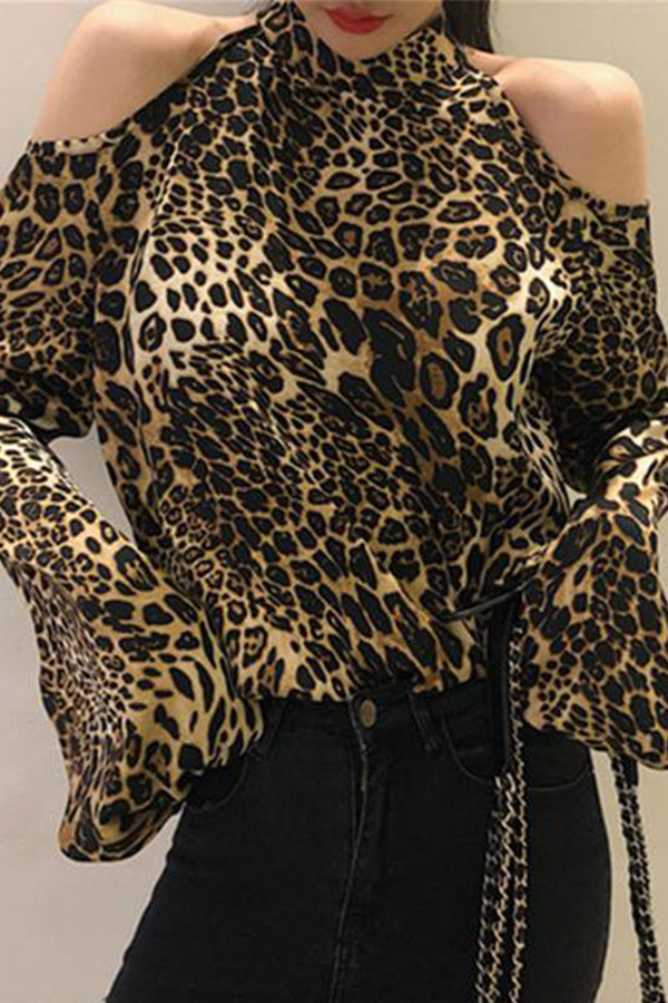 Fashion Leopard Print Shoulder Exposed Loose Shirt