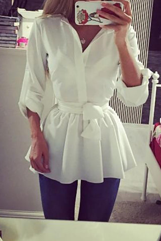 Fashion V Neck White Bandage Blouses