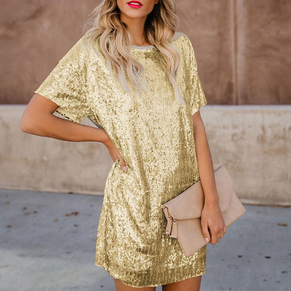 Sequined Splicing Short-Sleeved Casual Dress
