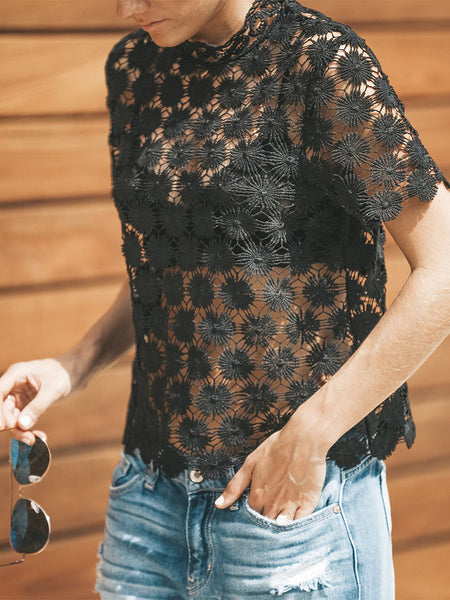Fashion Lace Round Neck Hollow Out T-Shirt