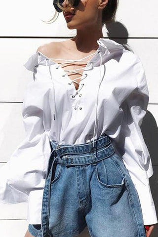 Sexy Pure Colour Belted Long Sleeve Shirt