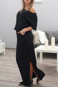 Side Slit Pocket Loose Dress
