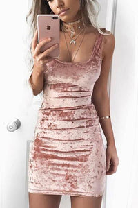 Sexy Pure Color Sleeveless Velvet Round Neck Dress