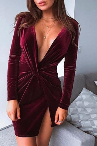 Sexy Deep V Neck Irregularity Dress