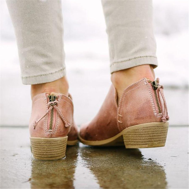 Elegant Casual Pointed Low Heel Bare Booties