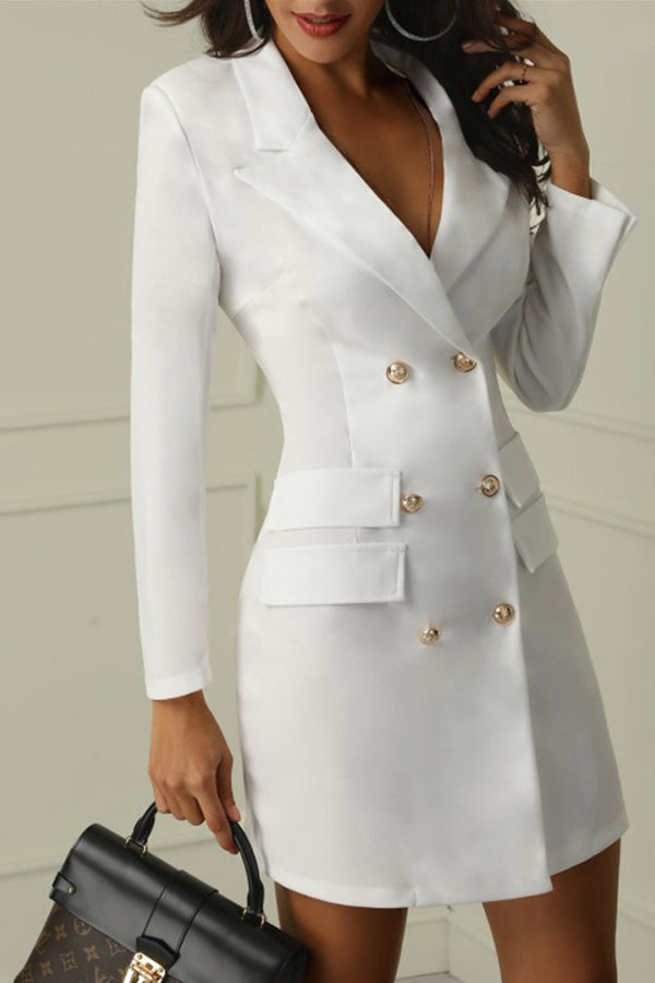 V Collar Double Breasted Suit A Dress