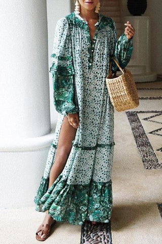 Printed Contrast Loose Long Sleeve Split Bohemian Maxi Dress