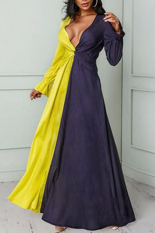 Sexy Deep V Contrast Color Ruffled Maxi Dresses