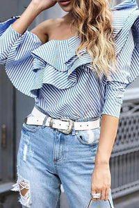 Fashion Sexy Off Shoulder Stripe Shirt