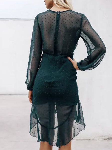 Sexy V Neck Lace See-Through Mini Dresses