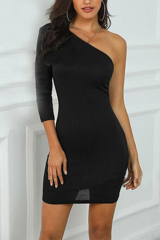 Sexy Bare Back Off-Shoulder Irregular Dress