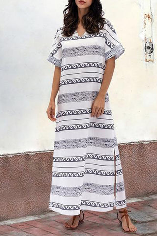 Short Sleeve Stripe Side Split Maxi Dress