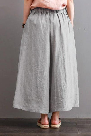 Retro Loose Solid Color Wide Legs Pant