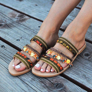 Retro Wild Ethnic Style Flat Slippers