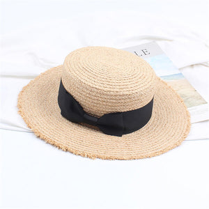 Retro   Flat Top Shade Bow Straw Hat