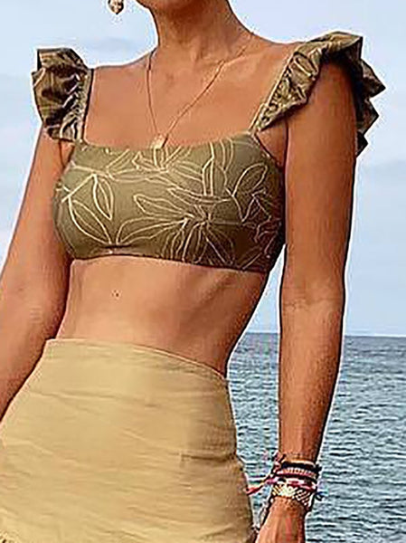 Sexy Square-Cut Collar Ruffled Bare Back Off-Shoulder Tank Top