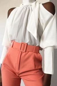 Commuting Belted Off-Shoulder Pure Colour Top
