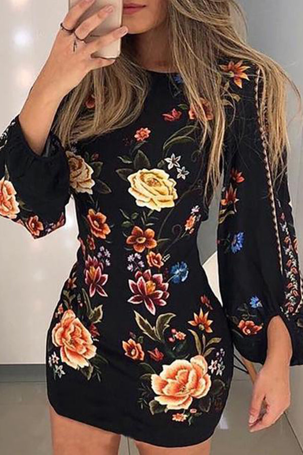 Fashion Printing Long Sleeve Backless Mini Dresses