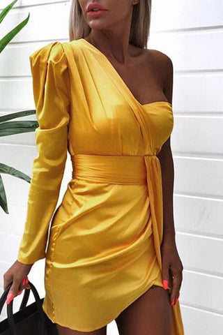 Sexy Sloping Shoulder Pure Colour Belted Dress