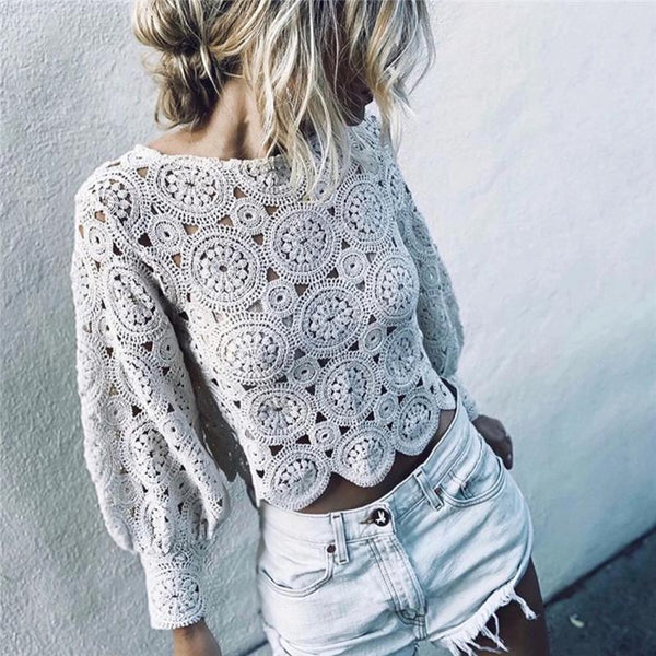 Women's Knit Openwork White Top