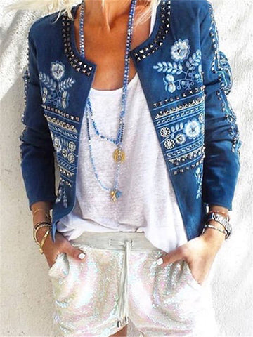 Fashion Printed Rivet Decorated Long Sleeve Denim Jackets