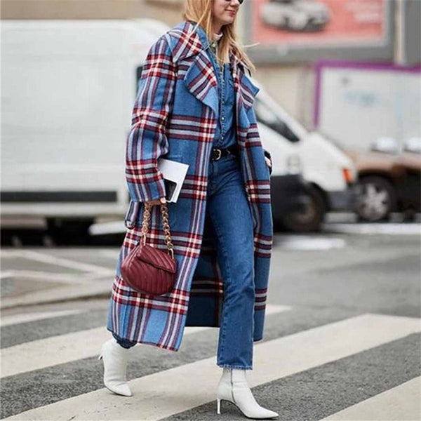Fashion Loose Plaid Print Long Coat