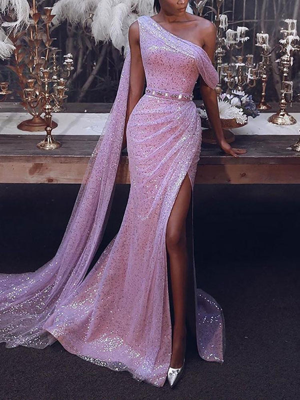 Sexy One Shoulder Shimmering Powder Slit Evening Dress