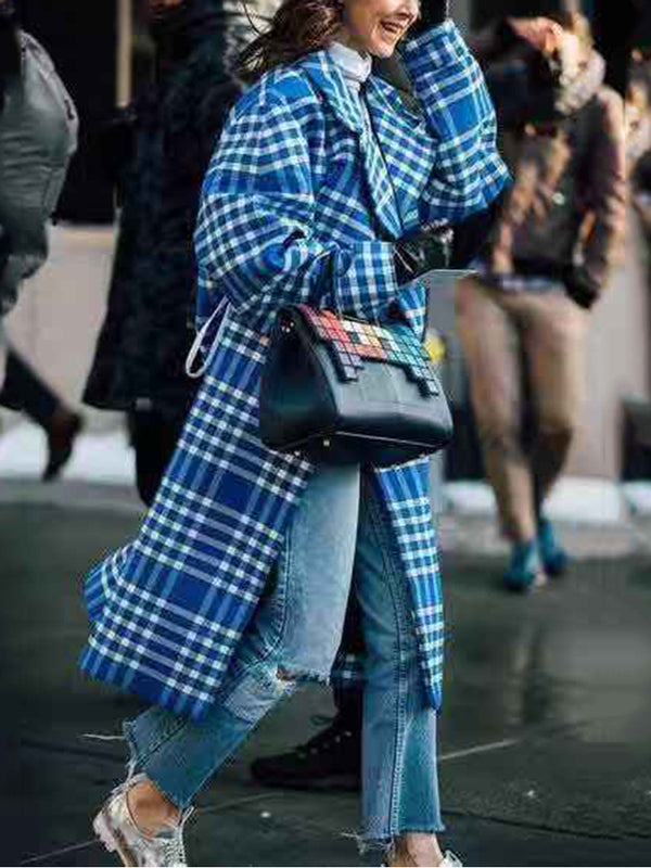 Fashion Fold-Over Collar Plaid Coat