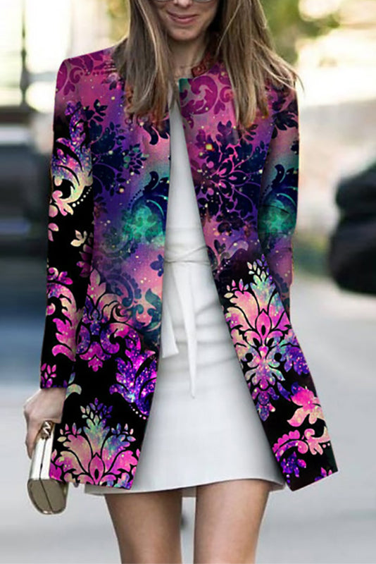 Design Round Neck Printed Colour Long Sleeve Jacket