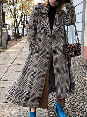 Folded Collar Plaid Wool Coat
