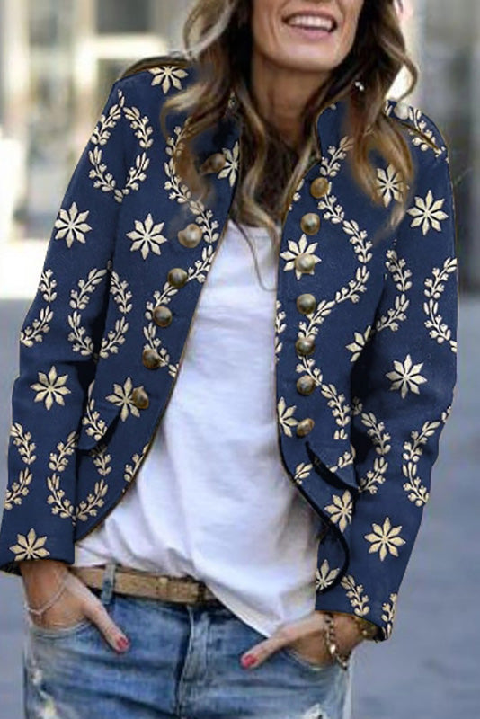 Fashion Printed Long Sleeve Rivet Blazer
