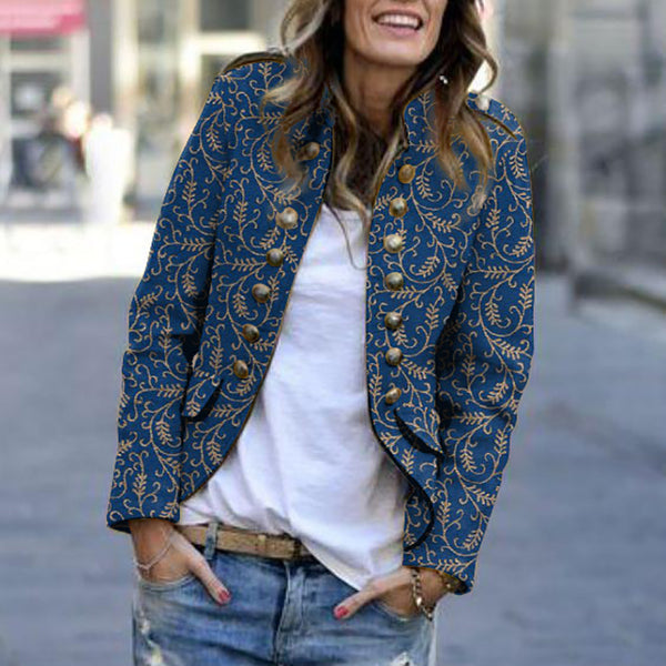 Casual Rivet Printed Long Sleeve Blazer