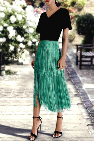 Sexy Green Tassel Layered Overskirt